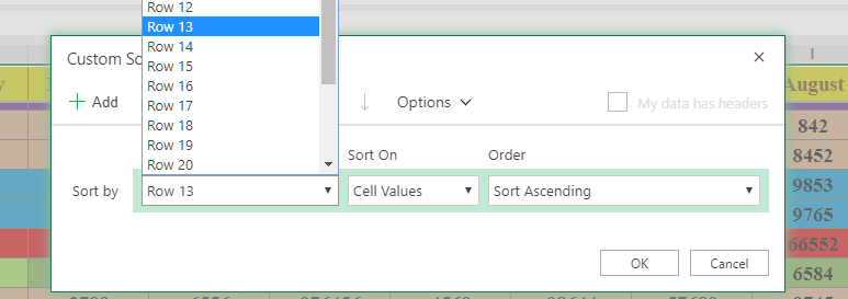 how to sort rows