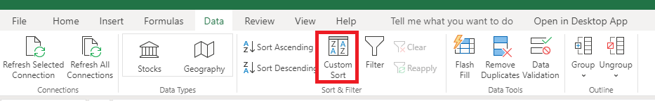 excel sort by column