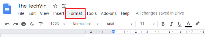 Click on format tab to make the columns