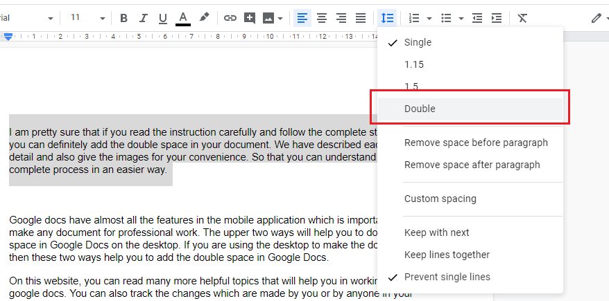 How to do double space in Google Docs