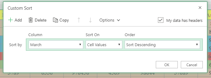 color sort in excel