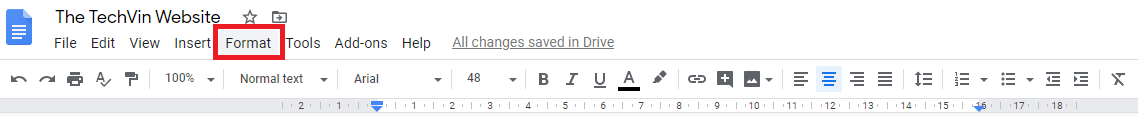 copyright symbol with format tab in google docs