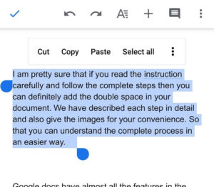 how to double space on google docs app