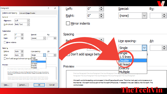 how to double space on word