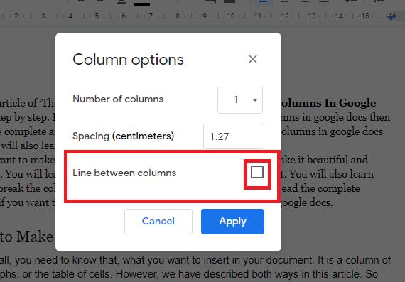 Line between the columns in google docs