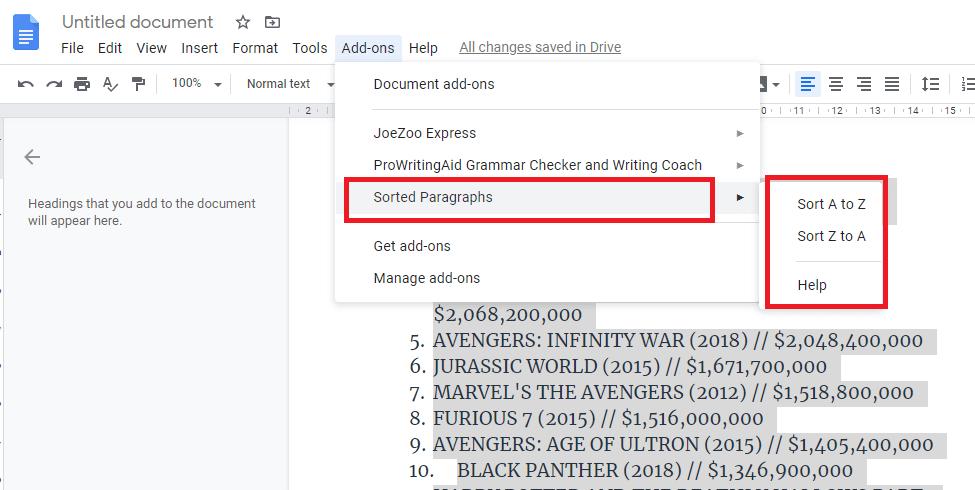 google docs alphabetize