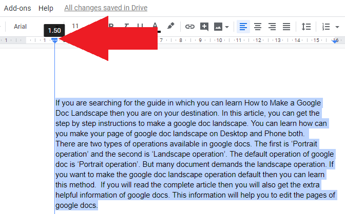 first line indent in google docs