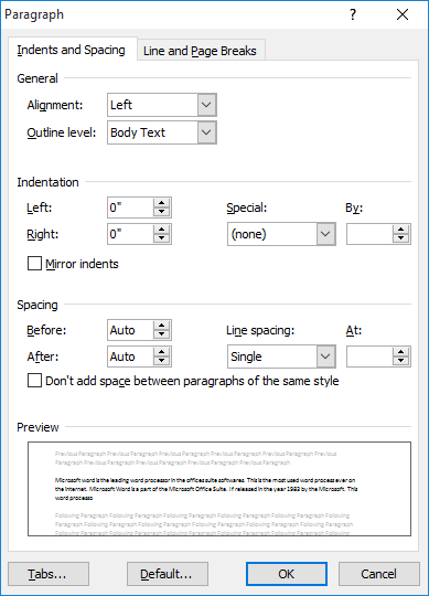 how to do double spacing in word