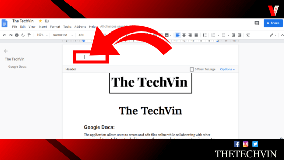 Header and footer in Google Docs