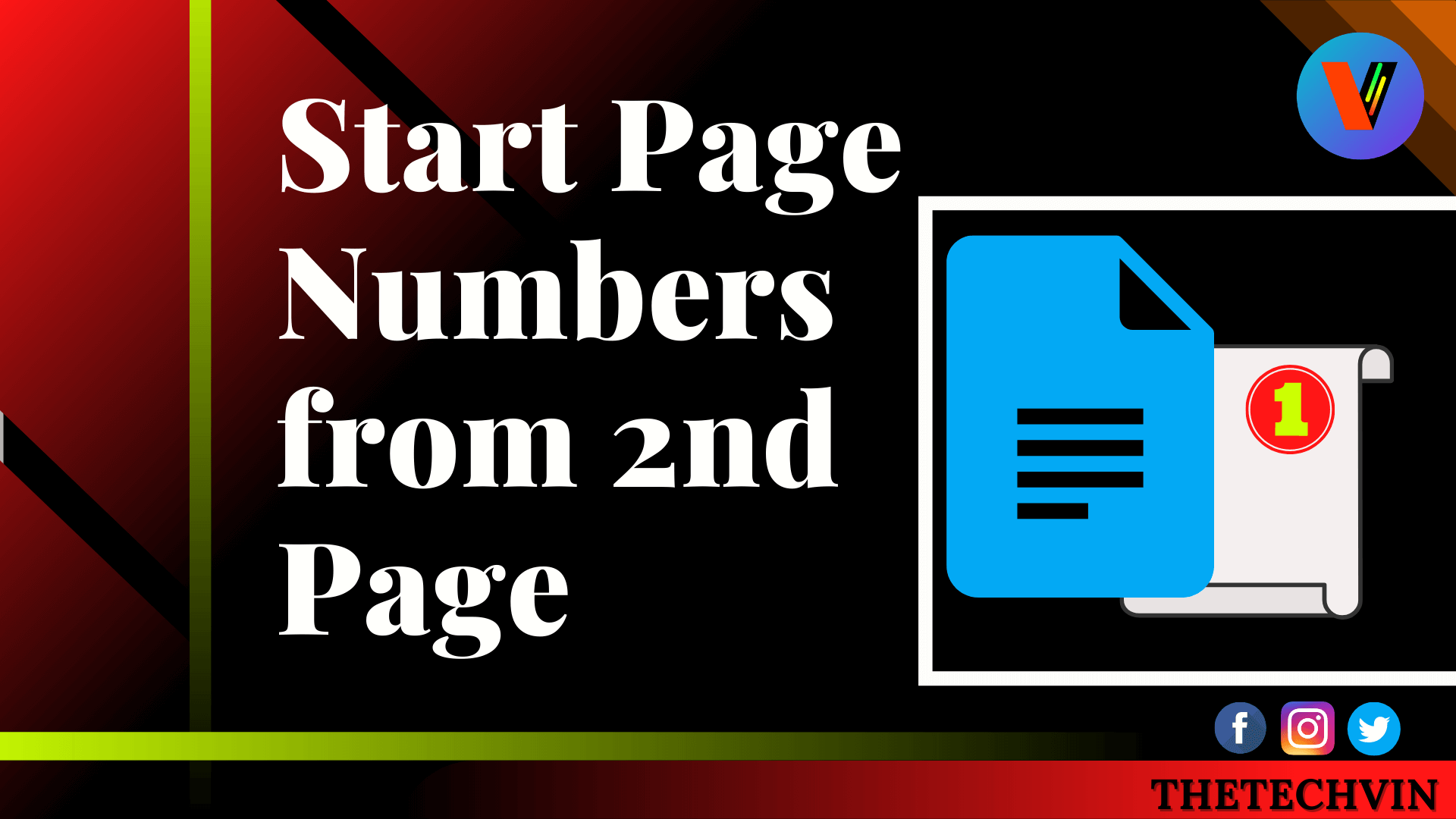 How to add page numbers in google docs from page 2