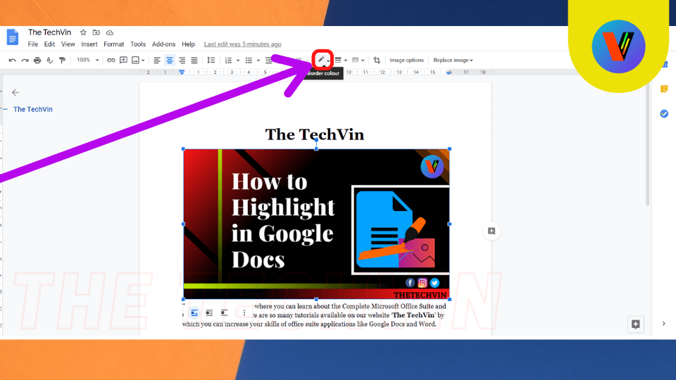 text over image in google docs