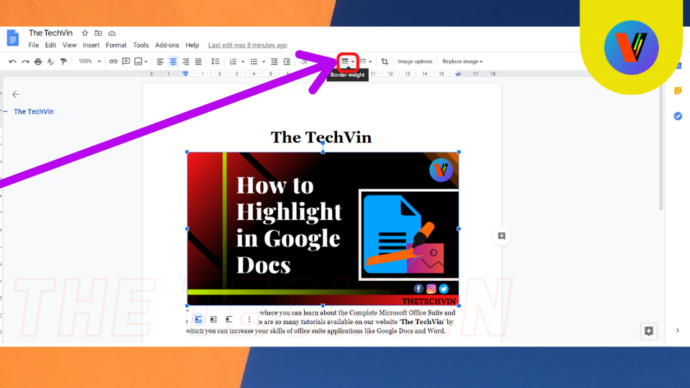 How to highlight a part of image in google docs