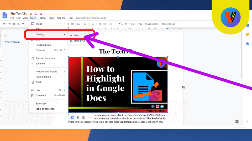 How to highlight image in google docs