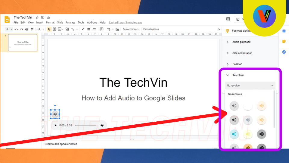 Recolor option to edit the format of audio