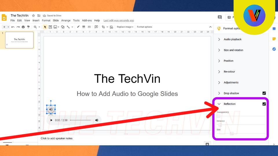 process is completed of audio in google slides